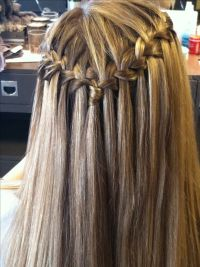 Waterfall braid with straight hair by Rachel ...