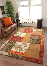 Details about New Warm Red Orange Modern Patchwork Rugs ...