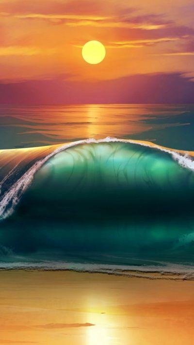 ~~Sunset beach sea waves | WallpapersCraft~~ | Water ~ Sea, Sand, Surf & Foam | Pinterest | Sun ...