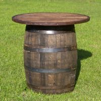whiskey/wine barrel cocktail tables for the patio