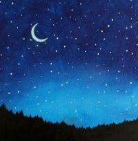 Night Sky Painting Kids Wall Art Nursery Decor by SunlitCo