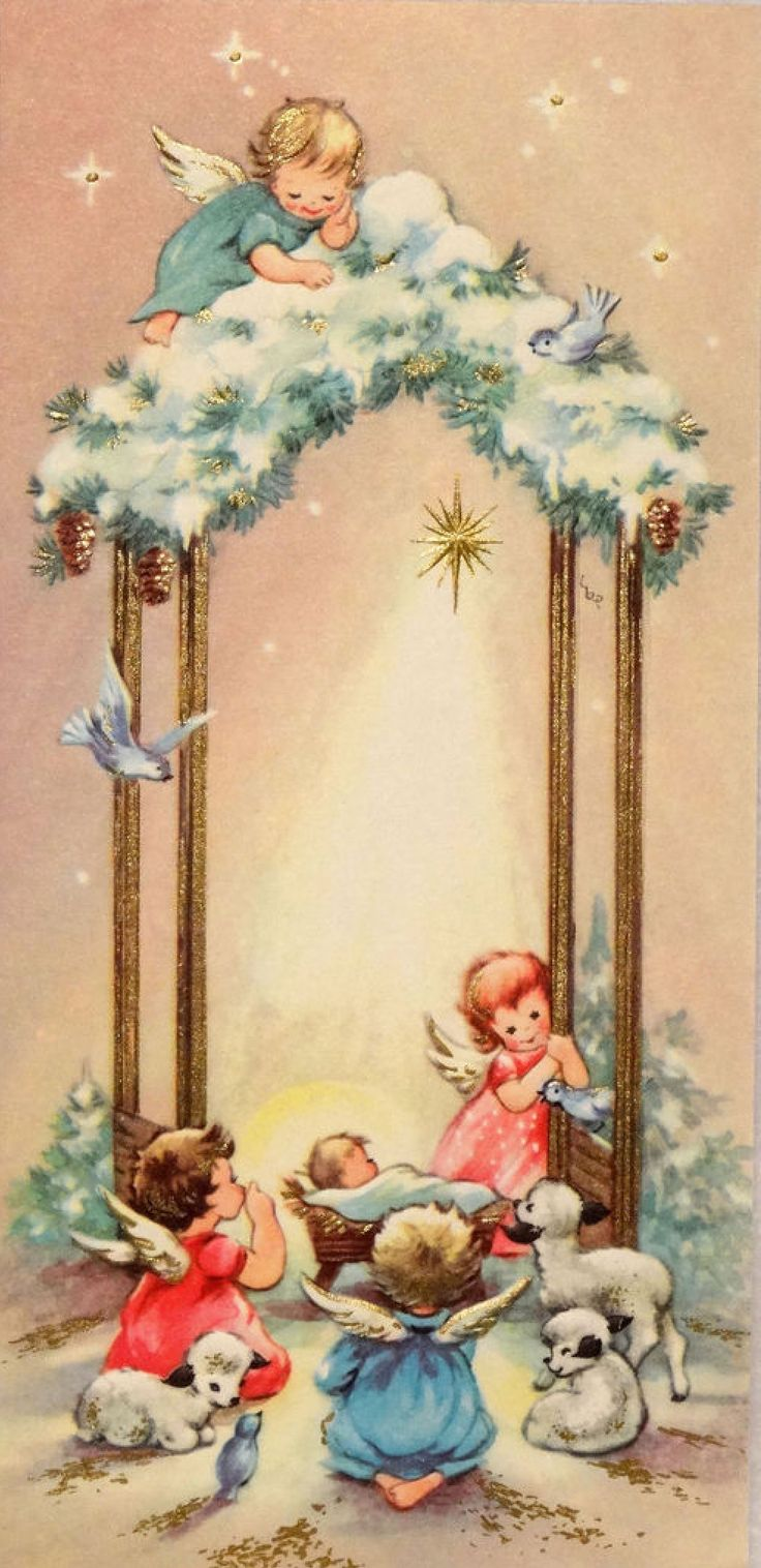 Pinterest Christmas Vintage The Angels Adoring Jesus :: Vintage Christmas Card