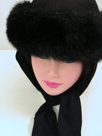 Vintage Womens Faux Fur Ladies Winter Hat Attached Scarf