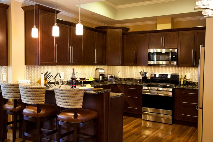 Kitchen Island Espresso Cute Dark Brown Color Mahogany Wood Kitchen Cabinets Comes