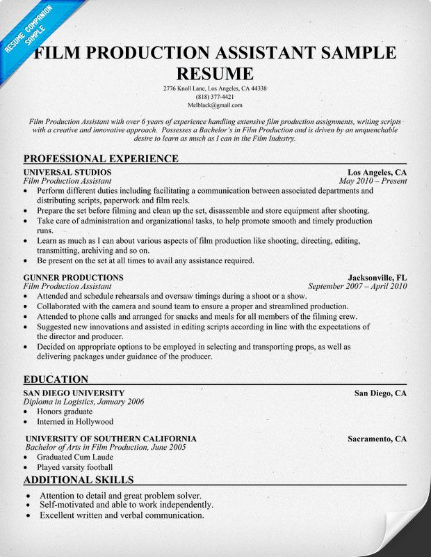 How To Write A Resume Headline That Gets Noticed Film Production Resume Resumecompanion Resume