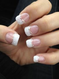 Newest gel nails! White glitter French manicure with ...