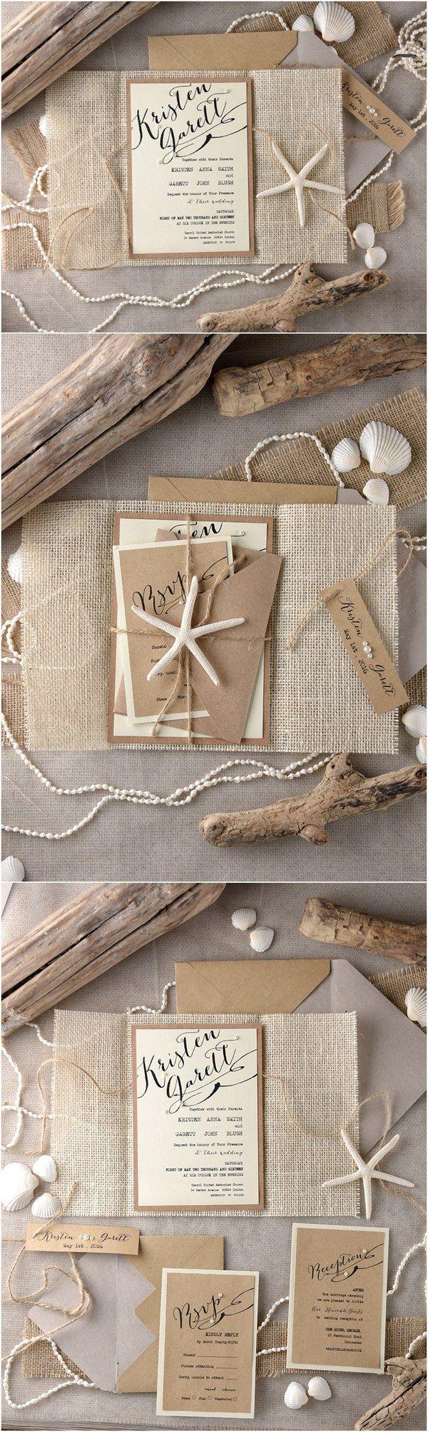 beach invitations beach wedding invitations Rustic country burlap beach wedding invitations 4LOVEPolkaDots