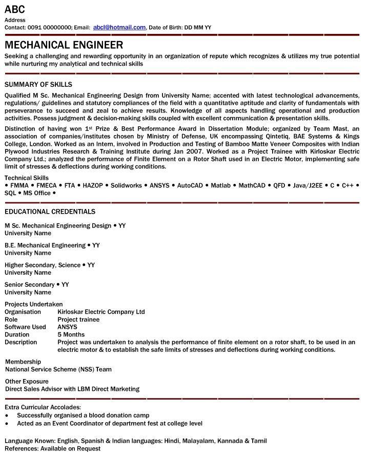 example of good mechanical engineering resume