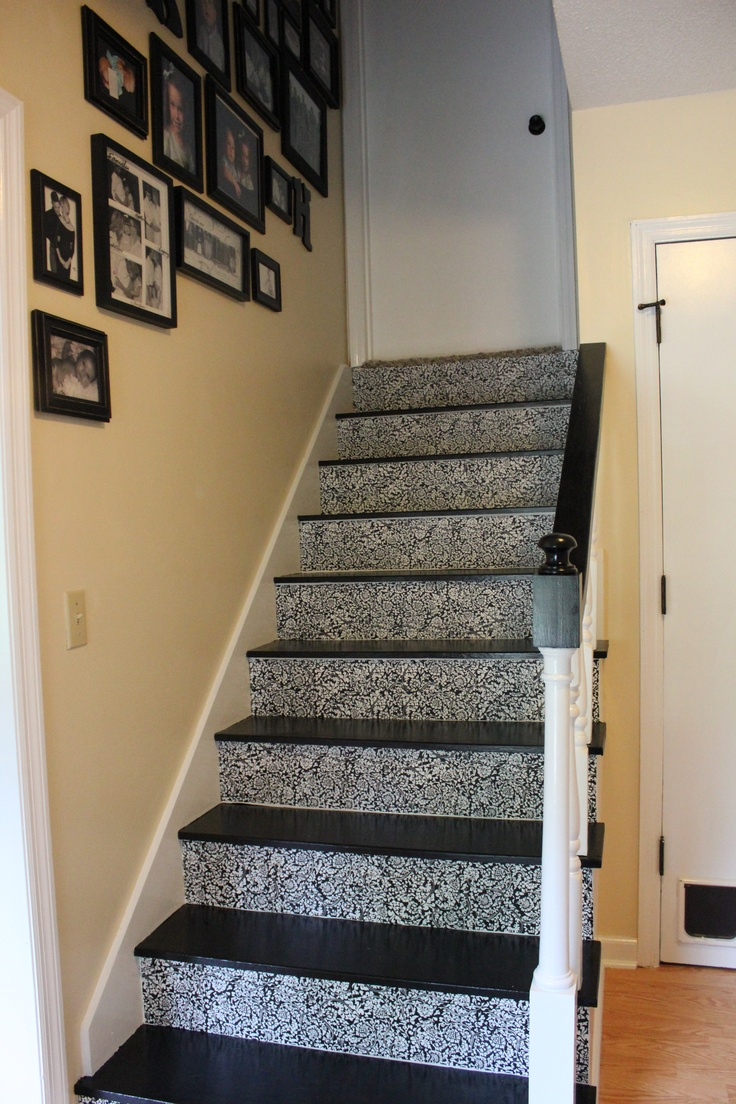 Treppenaufgang Tapezieren Stairs With Contact Paper Risers | Favorite Places