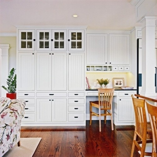 Replacing Kitchen Desk With Cabinets Built-in White Wall Cabinets And Desk In Kitchen // Tall