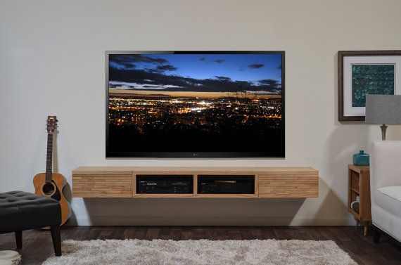 Floating Tv Stand Floating Media Stand Contemporary Blonde Tv Cabinet
