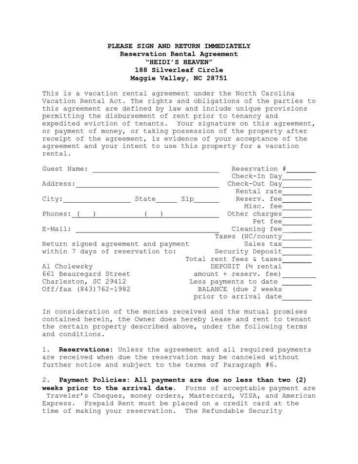 Rental Agreement Template North Carolina Resume Pdf Download