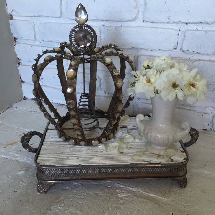 12quot Iron Metal Aged Crystal Crested Crown Vintage Coloring