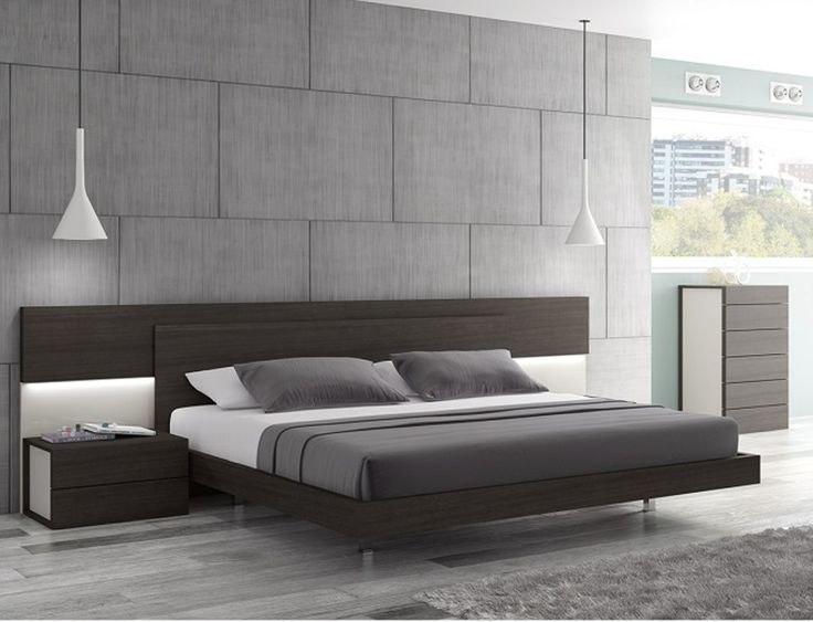 Bett Modern J & M Maia Wenge Premium Queen Platform Bed With Headboard