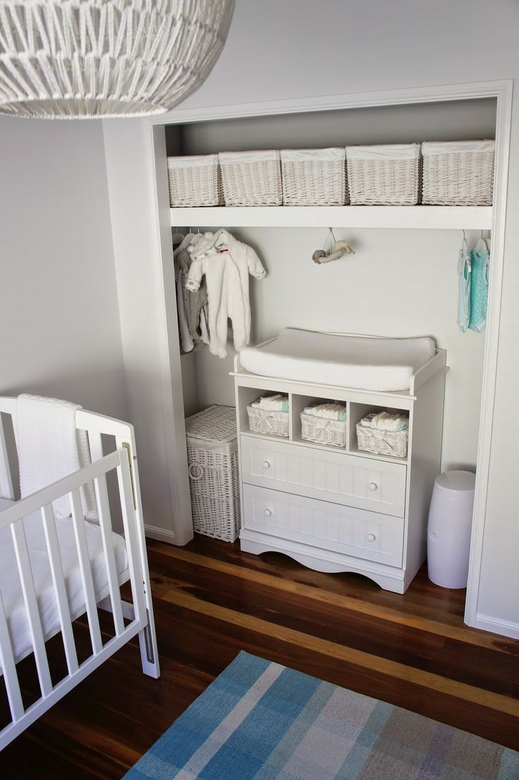 Closet changing table neutral nursery white grey aqua white storage for unisex baby