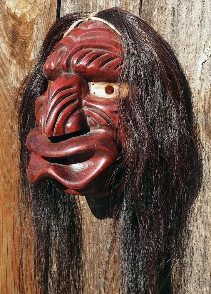 Girl With Sword Wallpaper Vintage Carved False Face Native American Mask By J