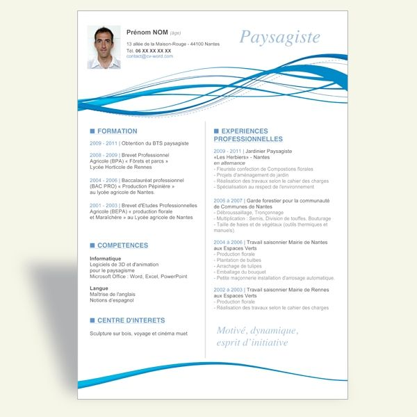 cv paysagiste original