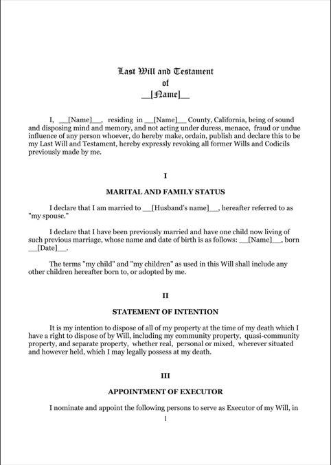 Last Will And Testament Template Form Massachusetts Last Will   Sample Will  Form