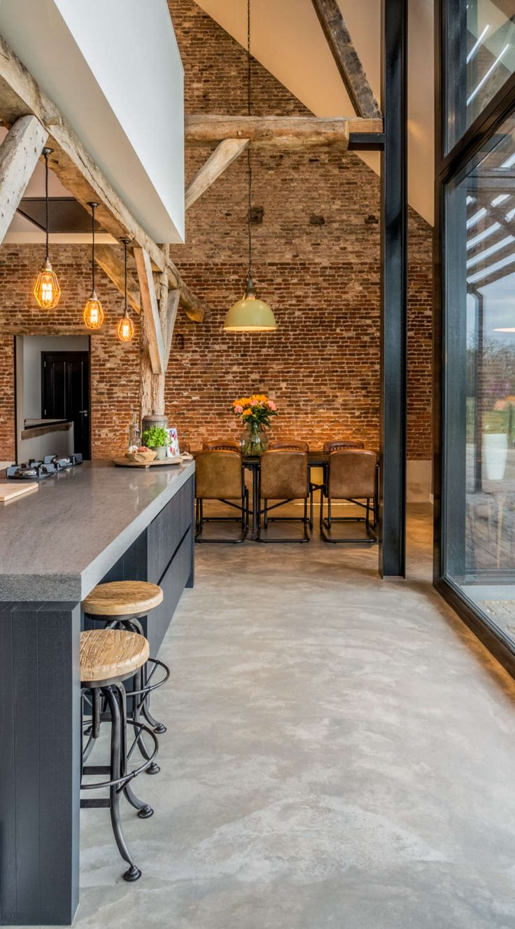 Red brick flooring kitchen - Red Brick Flooring Kitchen Converting An Old Farm Into A Warm Industrial Farmhouse With Big Download