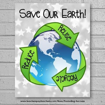 Earth Day Poster, Earth Day Classroom Door, Reduce Reuse Recycle | Science classroom and Reduce ...