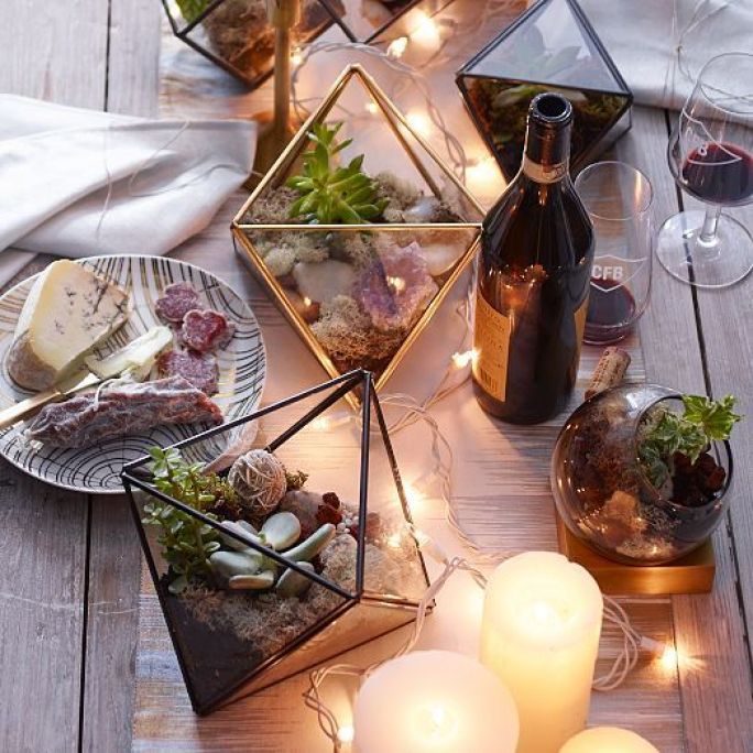 Collect Faceted Terrariums which are usable all year round in the home! Use them for a casual dinner setting add some light & voila