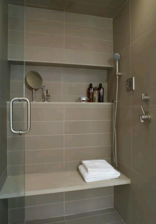 shower shelf, large tile, bench