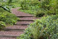 Wooden Outdoor Stairs and Landscaping Steps on Slope ...