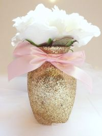3 Gold & Pink Vases, Gold and pink Baby shower, Baby ...