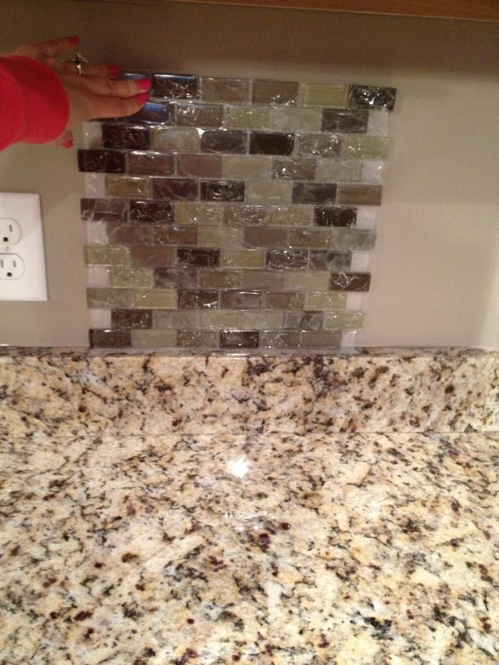 Java Stained Kitchen Cabinets Cracked Glass Backsplash | My House! | Pinterest | Glass
