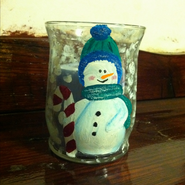 Diy Painted Snowman Candle Holder Christmas Candles