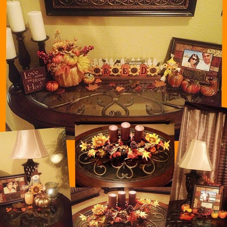 Fall decorations in living room, entry table and end