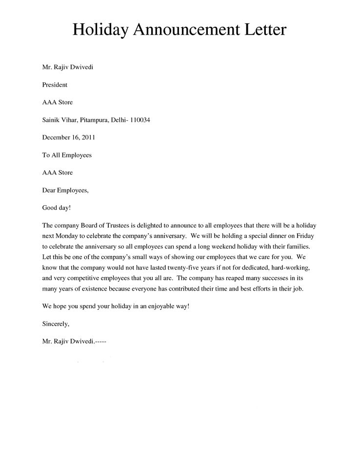 Sample Letter Of Announcement Of Employee Resignation - Resume - announcement letter samples