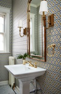 small bathroom with a lot of pattern on wall, wallpaper ...