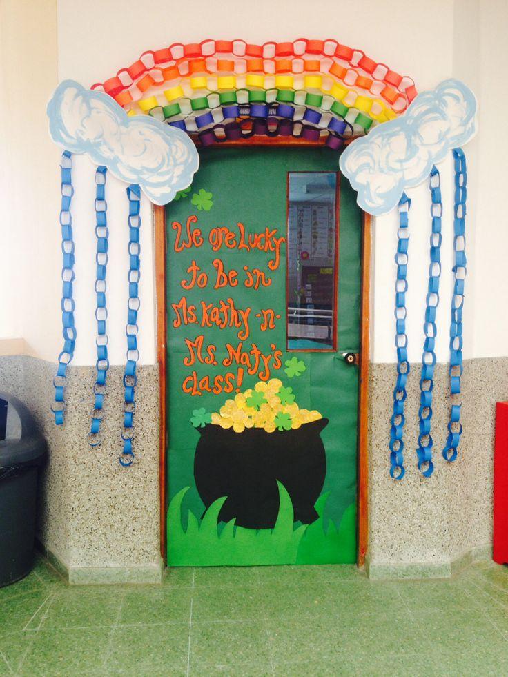 St. Patricks door. School door decoration.