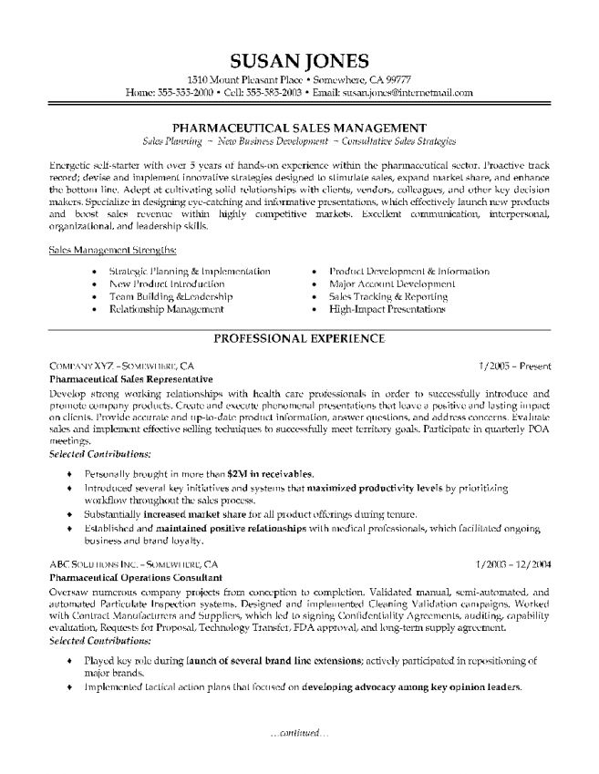 Resume Examples For Sales Sales Representative-Page1 Sales - sales executive resume