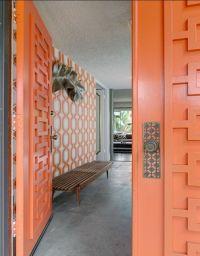 Orange - Geometric - Mid Century Modern Doors - Midcentury ...