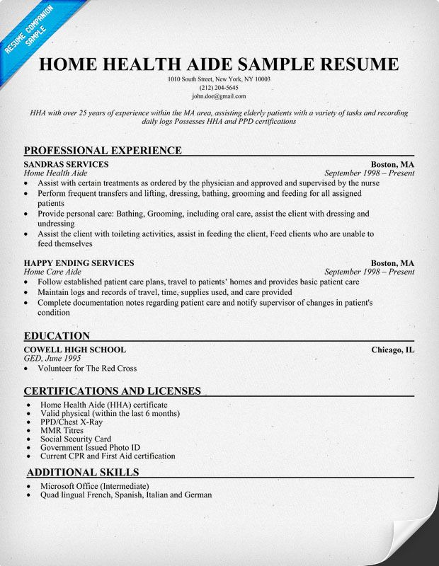hha resume examples