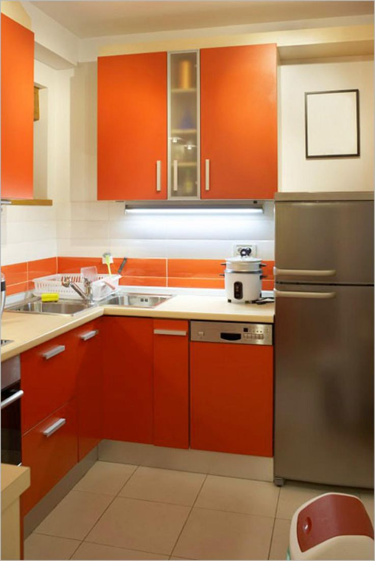 small kitchen ideas small kitchen remodels Kitchen Modern Small Kitchen Remodeling With Orange Kitchen Cabinets Also Refrigerator With Kitchen Faucet Also Sink Also Rice Cookers Also Trash Witeh