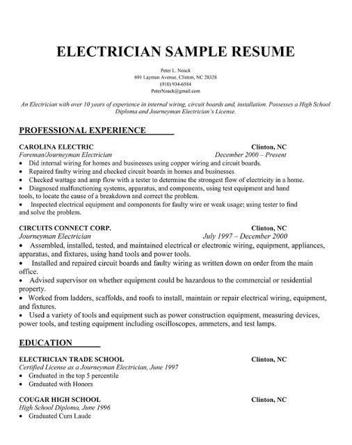 8 electrician resumes samples
