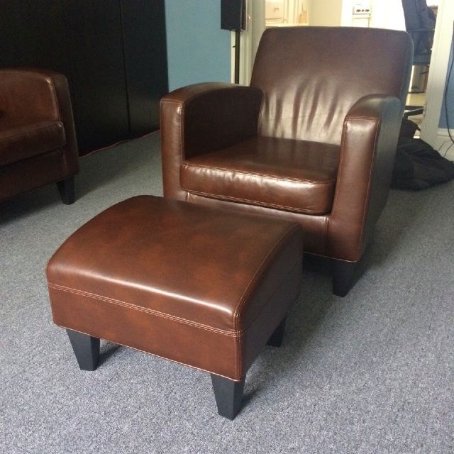 Wayfair High Back Chairs Ikea Jappling Dark Brown Leather Sofa Chair And Footstool