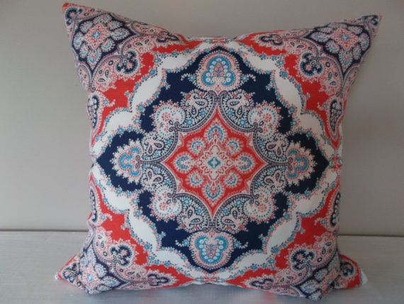 Red White Blue Medallion Outdoor Throw Pillow Cover