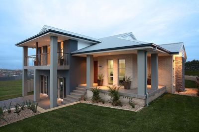 Look at how the stairs come out of the drive, with the front yard raised. Killalea sloping block ...