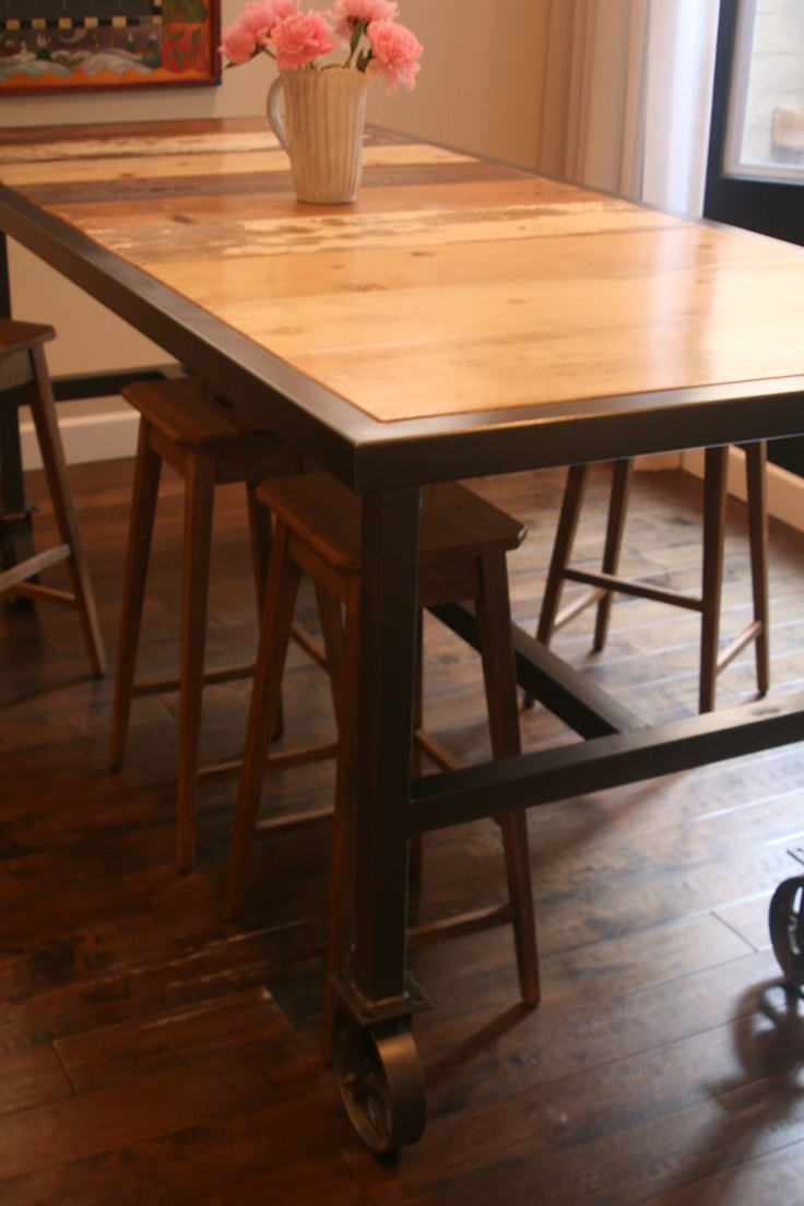 """Bar Height Dining Table on 6"""" Caster Wheels with Reclaimed"""