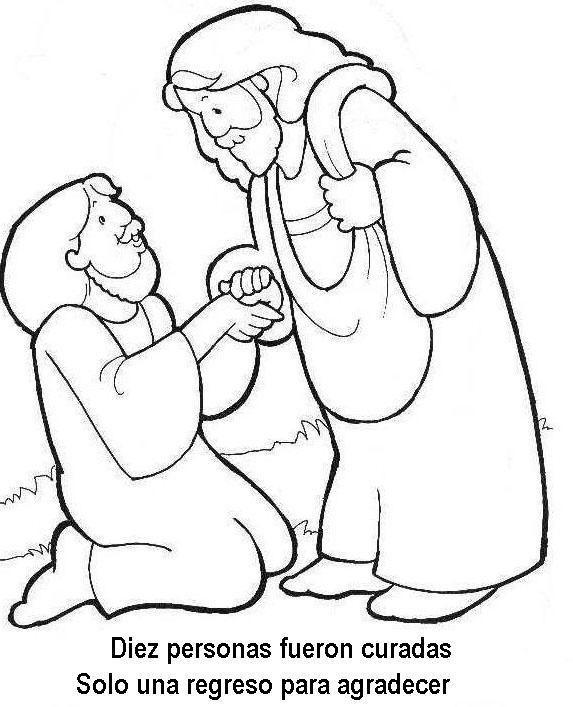 imagenes para colorear jesus sana a diez leprosos