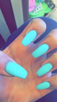 Light blue matte coffin nails   Nails   Pinterest   Follow ...