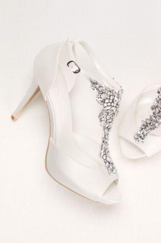 sparkle wedding shoes wedding slippers Crystal t strap peep toe high heel Sparkling wedding shoes