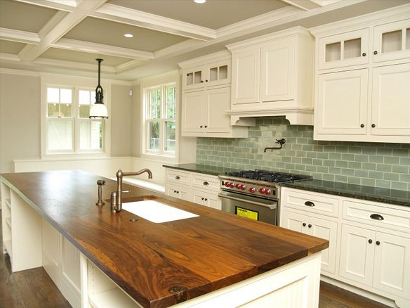 Wood Island Tops Kitchens White Cabs, Green Tile, Wood Countertops And Granite