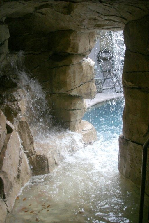3d Faux Stone Wallpaper Faux Gratto Spa Cave Real And Faux Rock Waterfalls