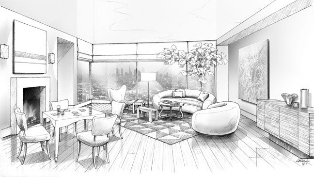 Sala Set Second Hand A Black And White Rendering Of Waldo Fernandez's Living