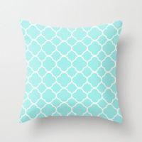 Aqua Pillow, Quatrefoil, Velvet, Aqua Throw Pillow, Teen ...